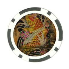 Funky Japanese Tattoo Koi Fish Graphic Art Poker Chip