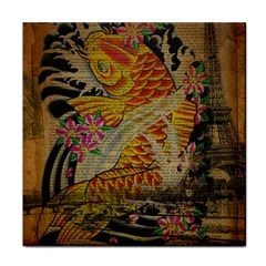Funky Japanese Tattoo Koi Fish Graphic Art Face Towel