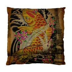 Funky Japanese Tattoo Koi Fish Graphic Art Cushion Case (Two Sided)