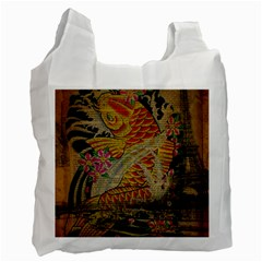 Funky Japanese Tattoo Koi Fish Graphic Art Recycle Bag (one Side)