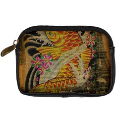 Funky Japanese Tattoo Koi Fish Graphic Art Digital Camera Leather Case