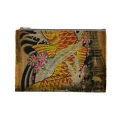 Funky Japanese Tattoo Koi Fish Graphic Art Cosmetic Bag (large)