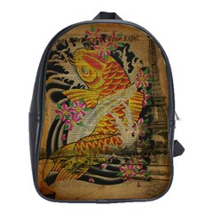 Funky Japanese Tattoo Koi Fish Graphic Art School Bag (Large)