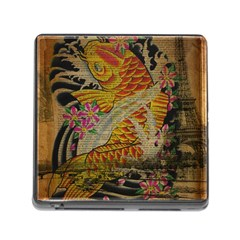 Funky Japanese Tattoo Koi Fish Graphic Art Memory Card Reader With Storage (square)