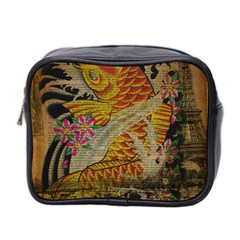 Funky Japanese Tattoo Koi Fish Graphic Art Mini Travel Toiletry Bag (two Sides)