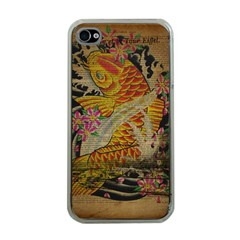 Funky Japanese Tattoo Koi Fish Graphic Art Apple iPhone 4 Case (Clear)