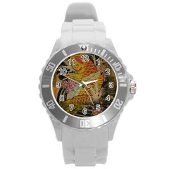 Funky Japanese Tattoo Koi Fish Graphic Art Plastic Sport Watch (Large)