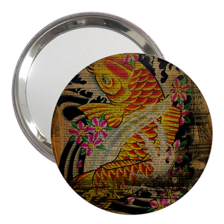 Funky Japanese Tattoo Koi Fish Graphic Art 3  Handbag Mirror