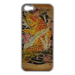 Funky Japanese Tattoo Koi Fish Graphic Art Apple iPhone 5 Case (Silver)