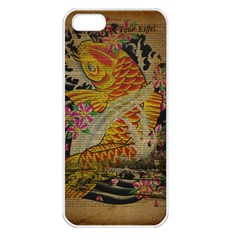 Funky Japanese Tattoo Koi Fish Graphic Art Apple Iphone 5 Seamless Case (white)