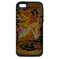 Funky Japanese Tattoo Koi Fish Graphic Art Apple Iphone 5 Hardshell Case (pc+silicone)