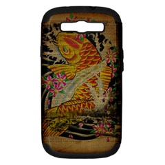 Funky Japanese Tattoo Koi Fish Graphic Art Samsung Galaxy S III Hardshell Case (PC+Silicone)