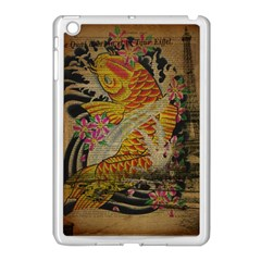 Funky Japanese Tattoo Koi Fish Graphic Art Apple iPad Mini Case (White)