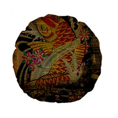Funky Japanese Tattoo Koi Fish Graphic Art 15  Premium Round Cushion