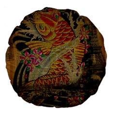 Funky Japanese Tattoo Koi Fish Graphic Art 18  Premium Round Cushion