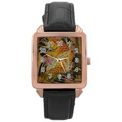 Funky Japanese Tattoo Koi Fish Graphic Art Rose Gold Leather Watch