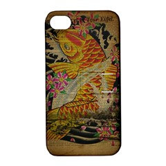 Funky Japanese Tattoo Koi Fish Graphic Art Apple Iphone 4/4s Hardshell Case With Stand