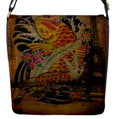Funky Japanese Tattoo Koi Fish Graphic Art Flap closure messenger bag (Small)