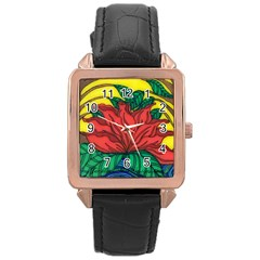 A Rose Rose Gold Leather Watch