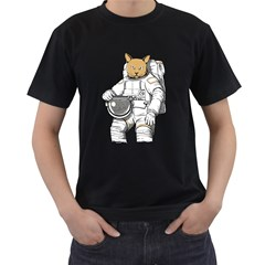 Catstronaut Mens' Two Sided T-shirt (Black)