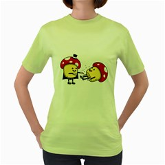Magic Mushrooms Womens  T-shirt (Green)