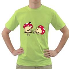 Magic Mushrooms Mens  T-shirt (Green)