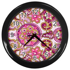 Floral Fantasy Wall Clock (black)
