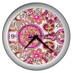Floral Fantasy Wall Clock (Silver) Front