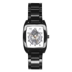Skull  Men s Stainless Steel Barrel Analog Watch