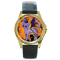 Serukivampirecat Round Metal Watch (gold Rim)