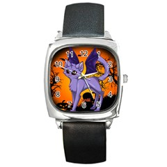 Serukivampirecat Square Leather Watch