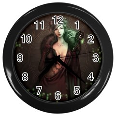 Lady in Red Wall Clock (Black)