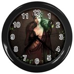 Lady in Red Wall Clock (Black) Front