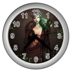 Lady In Red Wall Clock (silver)