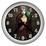 Lady in Red Wall Clock (Silver) Front