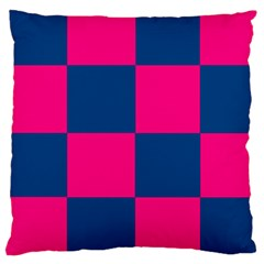 Pink Blue Check Large Cushion Case (Single Sided)