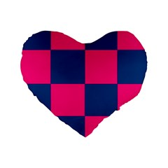 Pink Blue Check 16  Premium Heart Shape Cushion