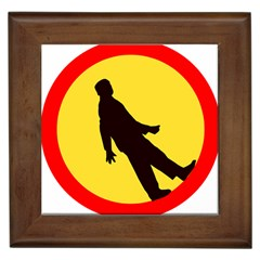 Walking Traffic Sign Framed Ceramic Tile