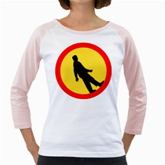 Walking Traffic Sign Womens  Long Sleeve Raglan T-shirt (White)