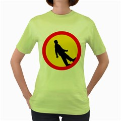 Walking Traffic Sign Womens  T-shirt (Green)