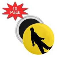 Walking Traffic Sign 1 75  Button Magnet (10 Pack)