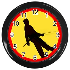 Walking Traffic Sign Wall Clock (black)