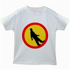 Walking Traffic Sign Kids' T-shirt (White)