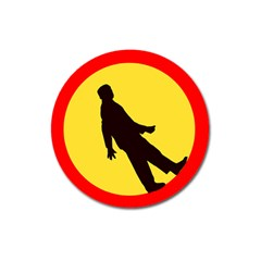 Walking Traffic Sign Magnet 3  (Round)