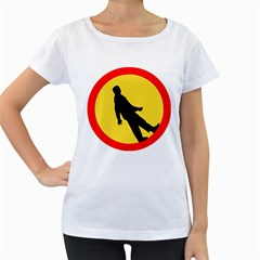 Walking Traffic Sign Womens' Maternity T Shirt (white)