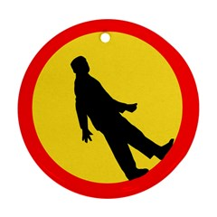 Walking Traffic Sign Round Ornament (two Sides)