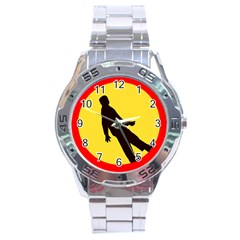 Walking Traffic Sign Stainless Steel Watch (Men s)