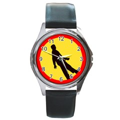 Walking Traffic Sign Round Metal Watch (silver Rim)