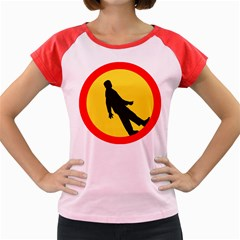 Walking Traffic Sign Women s Cap Sleeve T-Shirt (Colored)