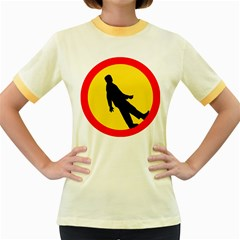 Walking Traffic Sign Womens  Ringer T Shirt (colored)